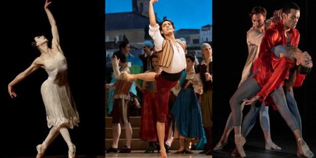 Maia Makhateli in La Dame aux Cameliás, Daniel Camargo in Don Quichot en een scène uit Ignite van Juanjo Arqués & Kate Whitley F