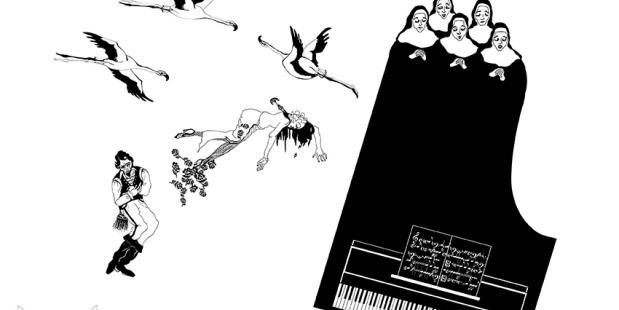 Tekenkunst Moulen Noir visualiseert deze episode van 300 jaar uit de dansgeschiedenis in achttien tijdreizen.
