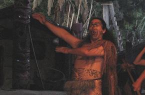 Flickr Haka,Ranveig Thattai. JSilver. One of the Maori warriors at Mitai performs the haka
